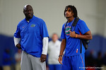 Florida Gators freshman wide receiver Tyrie Cleveland walking around the field as the Gators host their annual Friday Night Lights camp at Ben Hill Griffin Stadium and Indoor Practice Facility.  July 22nd, 2016.  Gator Country Photo by David Bowie.