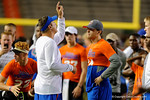 Florida Gators offensive coordinator Doug Nussmeier coaching up Gators quarterback commit Jake Allen as the Gators host their annual Friday Night Lights camp at Ben Hill Griffin Stadium and Indoor Practice Facility.  July 22nd, 2016.  Gator Country Photo by David Bowie.