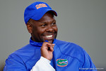 Florida Gators running backs coach Tim Skipper having fun coaching up high school recruits as the Gators host their annual Friday Night Lights camp at Ben Hill Griffin Stadium and Indoor Practice Facility.  July 22nd, 2016.  Gator Country Photo by David Bowie.