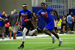 Florida Gators recruit Hamsah Nasirldeen competing in drills as the Gators host their annual Friday Night Lights camp at Ben Hill Griffin Stadium and Indoor Practice Facility.  July 22nd, 2016.  Gator Country Photo by David Bowie.