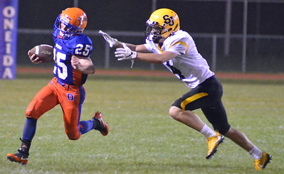 KYLE MENNIG - ONEIDA DAILY DISPATCH Oneida's Lukas Albro (25) breaks a run to the outside, escaping an attempted tackle by South Jefferson's Chris Perkins (4) during their game in Oneida on Friday, Sept. 9, 2016. Albro ran 63 yards for a touchdown on the play.