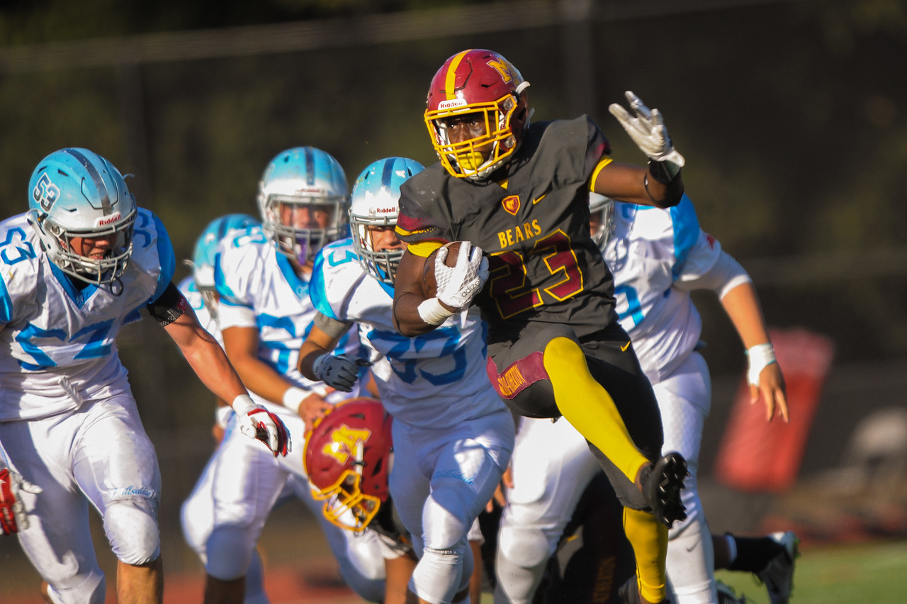 Menlo-Atherton's Jordan Mims rushed for 168 yards  against Hillsdale.