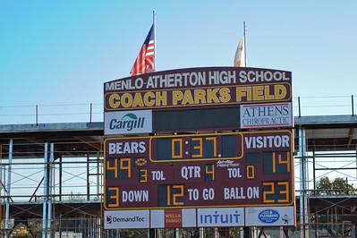 Final Score, Menlo Atherton High School Varsity Football vs. Salinas 2011-11-25