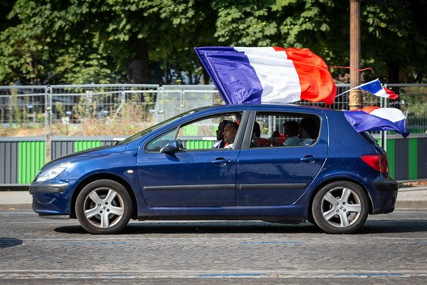 Fans in a car with France flags; Football worldcup final  in, Paris, France; 17.07.18, Photo: Jan von Uxkull-Gyllenband