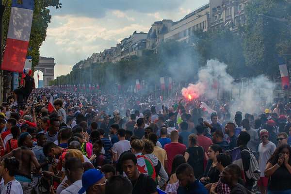 Fans celebrating at the Champs-Eysees; Football worldcup final  in, Paris, France; 17.07.18, Photo: Jan von Uxkull-Gyllenband