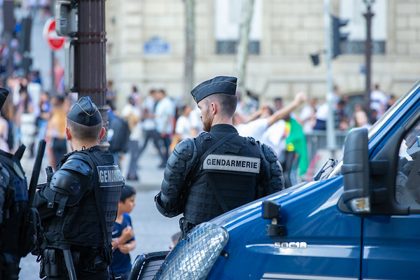 Police officers waiting at the Champs Elysees; Football worldcup final  in, Paris, France; 17.07.18, Photo: Jan von Uxkull-Gyllenband