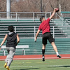 Making a one handed catch is Fitchburg High School sophomore Anthony Oquendo during some football at Fitchburg State University Elliot Field Thursday, March 26, 2020. Covering him during the route was FHS sophomore Richard Santana. SENTINEL & ENTERPRISE/JOHN LOVE