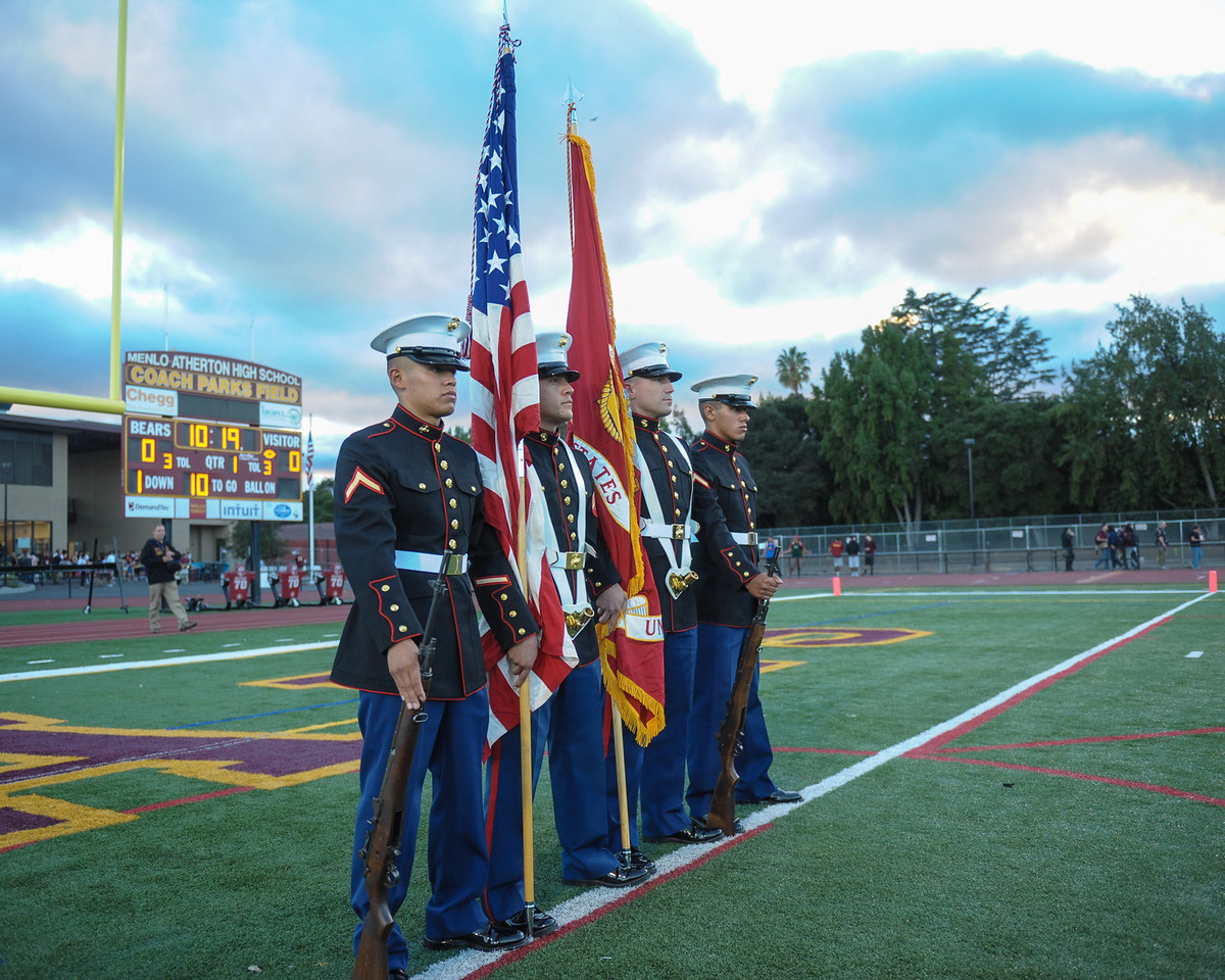 Marine Color Guard before Menlo-Atherton Varsity Football vs. St. Ignatius College Preparatory. 2013-09-20