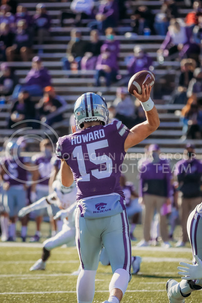 Freshman quarterback Will Howard prepares to throw the ball during the game on December 5, 2020 game against Texas. (Sophie Osborn | Collegian Media Group)