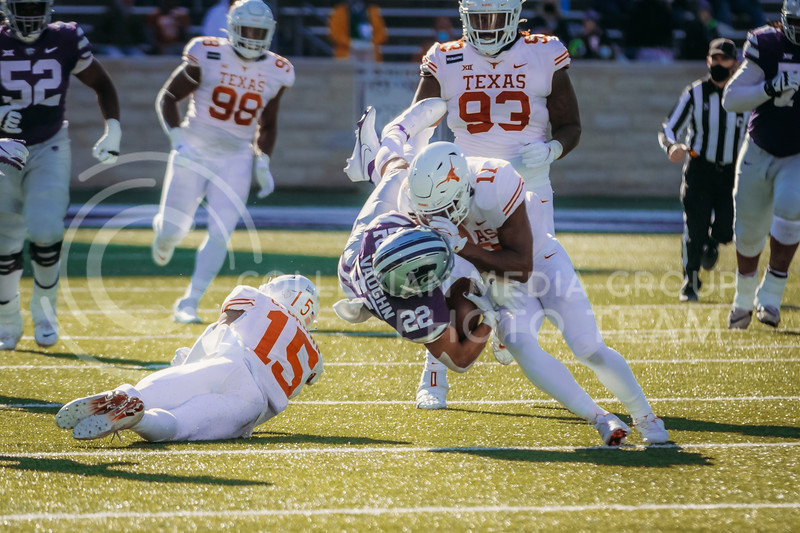Freshman running back Deuce Vaughn dives during the game on December 5, 2020 game against Texas. (Sophie Osborn | Collegian Media Group)