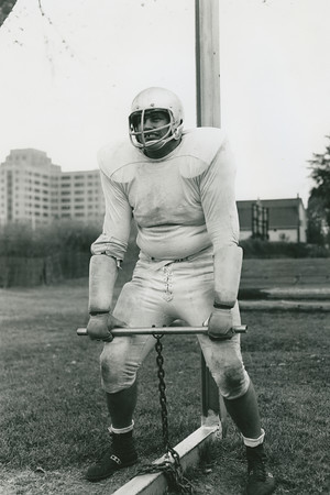University at Buffalo football practice with tackle Leo Ratamess, circa 1960.