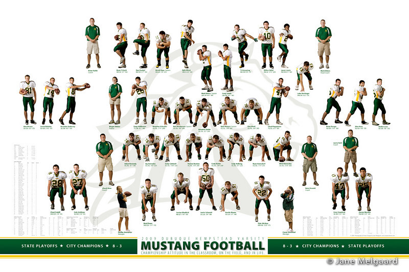 2009 Mustang Football Team<br /> Unique souvenir poster with all the players featured in their postions.