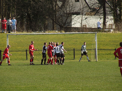 Handbags at five paces!!! This stramash led to two Wishaw players being sent off