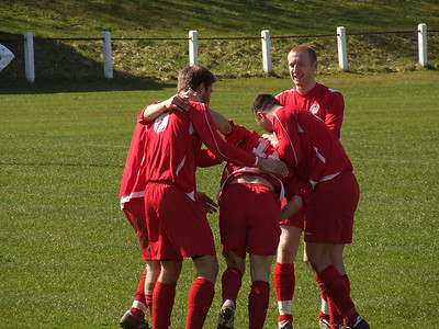 Burgh celebrate their second goal, scored by John Sherry