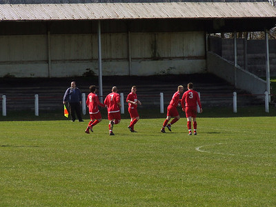Burgh celebrate their first goal, scored by Aiden Lennon