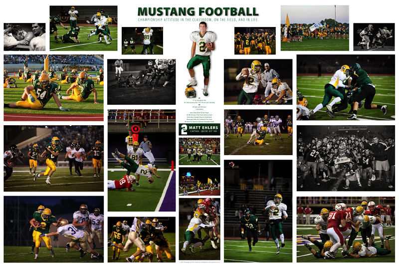 "This is a 30""x20"" collage of the season images of one player. This collage featured 25 images with his season stats and was created as a large lustre print. Image collages are unique to the individual and can be of different sizes, use personalized text, their football season stats or simply let the images speak for themselves. They can be created as a print, a canvas gallery wrap, and also can be delivered framed and ready to hang."
