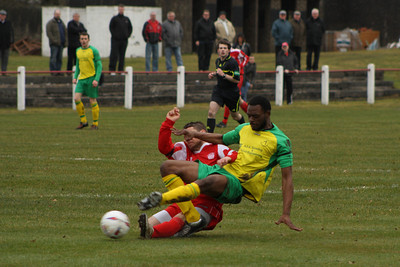 John Sherry tackled by Ant's centre half Mansare
