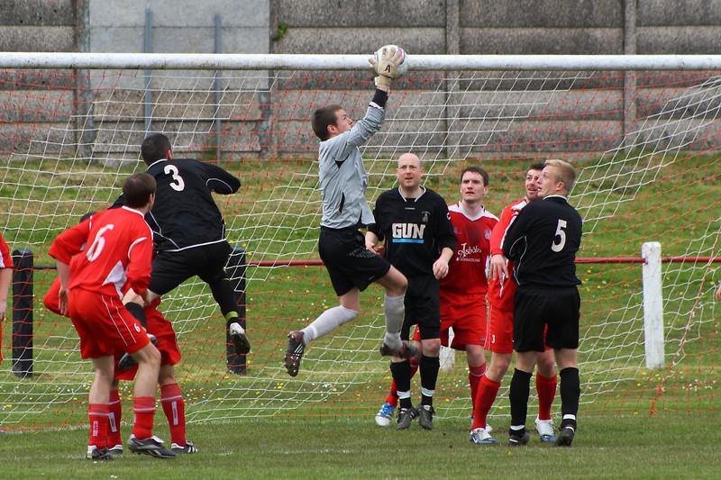 Fraser Wilson clutching a corner
