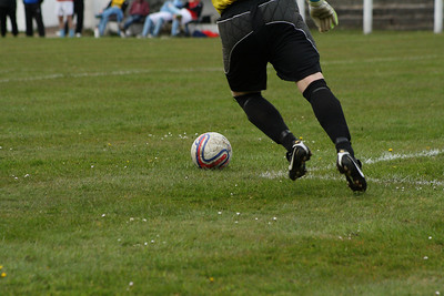 Believe it or not, this is a bye kick by the Newmains goalie!
