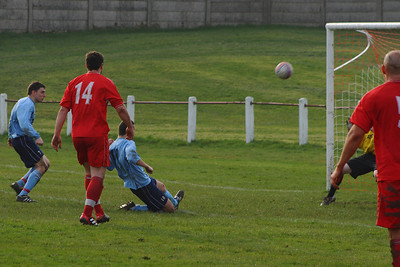 One of many missed chance by Burgh, Joe McGinley puts the ball over the bar from six yards out