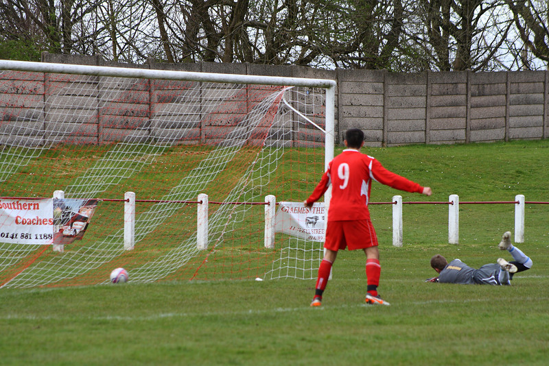 The ball nestles in the bottom corner for Burgh's third of the afternoon, courtesy of Chris Loughlin