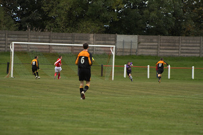 Largs first goal, Burgh defence undone by work on the wing....