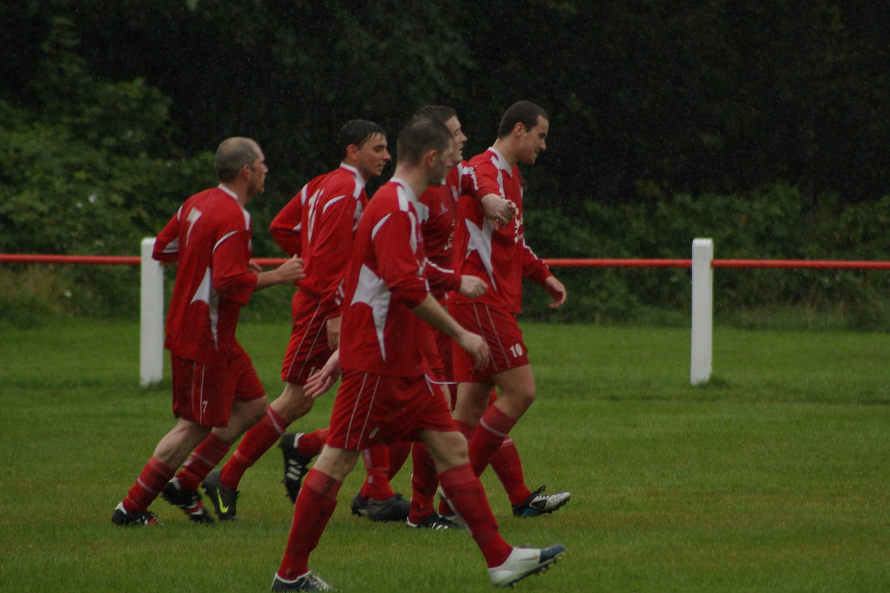 Burgh celebrate goal seven from Joe McGinlay