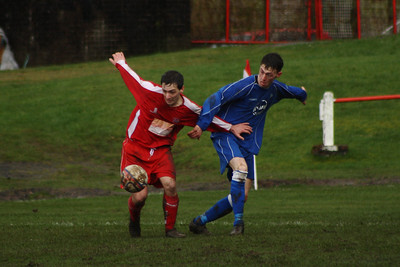 John McStay battling for the ball  Johnstone Burgh 1 Carluke Rovers 2 Stagecoach West of Scotland League Central District  First Division Keanie Park 22/03/2014