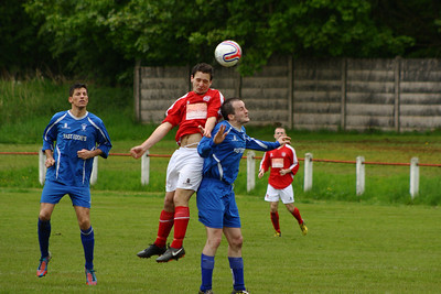 John McStay wins this header.  Johnstone Burgh 1 Lanark Utd 5 Stagecoach West of Scotland League Central District  First Division Keanie Park 17/05/2014