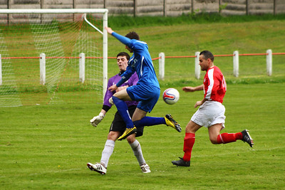 Ally Burke block's this shot.  Johnstone Burgh 1 Lanark Utd 5 Stagecoach West of Scotland League Central District  First Division Keanie Park 17/05/2014