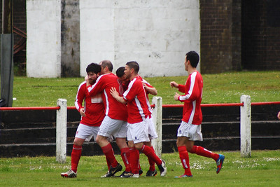 Burgh celebrate the opener.  Johnstone Burgh 1 Lanark Utd 5 Stagecoach West of Scotland League Central District  First Division Keanie Park 17/05/2014