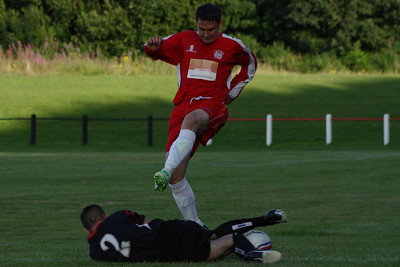 Johnstone Burgh 1 Greenock Juniors 1 Central Sectional League Cup Keanie Park 07/08/2013 Grant Kelly tackled