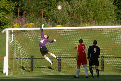 Johnstone Burgh 1 Greenock Juniors 1 Central Sectional League Cup Keanie Park 07/08/2013 Fraser Wilson watches this free kick go over