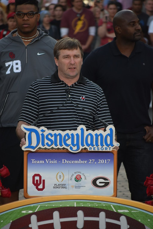 Georgia head coach Kirby Smart greets the fans during the Bulldogs' team visit to Disneyland in Anaheim, Calif., on Wednesday, Dec. 27, 2017. The Bulldogs will face Oklahoma on Monday in the College Football Playoff Semifinal at the Rose Bowl Game. (Photo by Steven Colquitt)