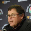 Georgia offensive coordinator Jim Chaney answers a question during the Bulldogs' press conference at the L.A. Hotel in Los Angeles, Calif., on Thursday, Dec. 28, 2017. The Bulldogs will face Oklahoma on Monday, Jan. 1, 2018, in the College Football Playoff Semifinal at the Rose Bowl Game. (Photo by Steven Colquitt)
