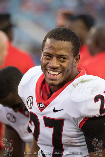 Nick Chubb flashes a smile.