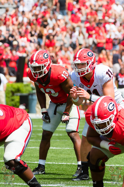 Isaiah Holyfield (13) and Jake Fromm (11)