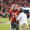 Kirby Smart talks with Davin Bellamy after Bellamy was called for targeting. The penalty was overturned