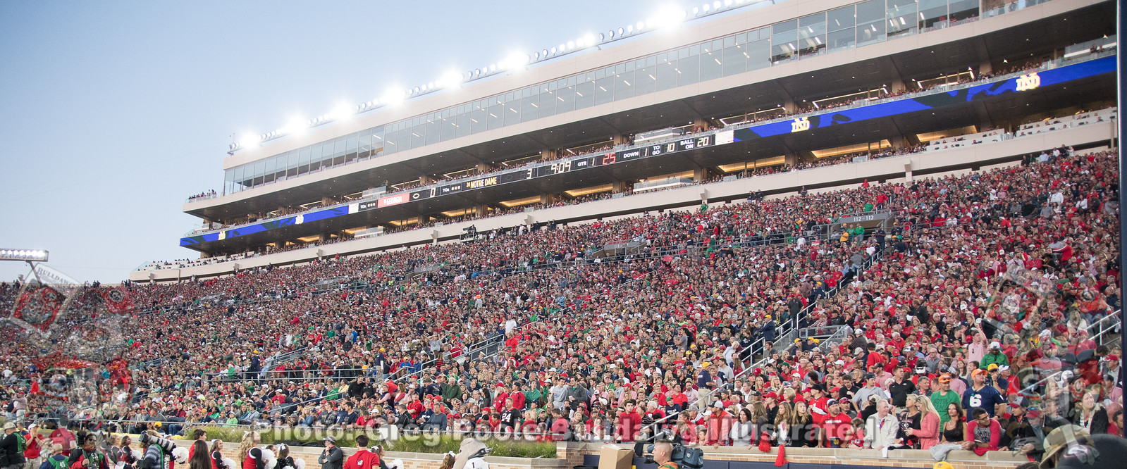 Georgia fans fill Notre Dame Stadium for the Bulldogs clash with the Fighting Irish on Saturday, September 9, 2017.