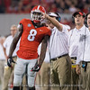 Riley Ridley gets instruction from Kirby Smart while Shane Beamer and James Coley look on  - Georgia vs. Samford 2017