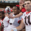 Jake Fromm (11) takes in the moment and celebrates with teammates and fans after the Bulldogs shutout the Volunteers 41-0 on Saturday, Sept. 30, 2017, in Neyland Stadium in Knoxville, TN.
