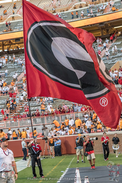 The University of Georgia flag flies in victory after the Dawgs dominate the Vols 41-0 back in 2017