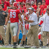 Kirby Smart reminds Charlie Woerner (89) about the importance of avoiding penalties
