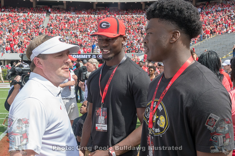 Kirby Smart, Adam Anderson and Azeez Ojulari