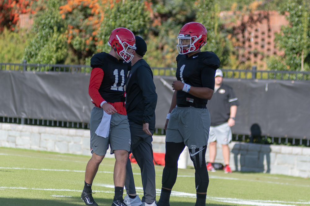 Jake Fromm (11) and Justin Fields (1)