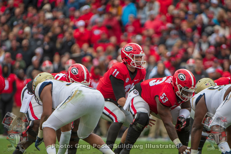 Jake Fromm (11) and Lamont Gaillard (53)