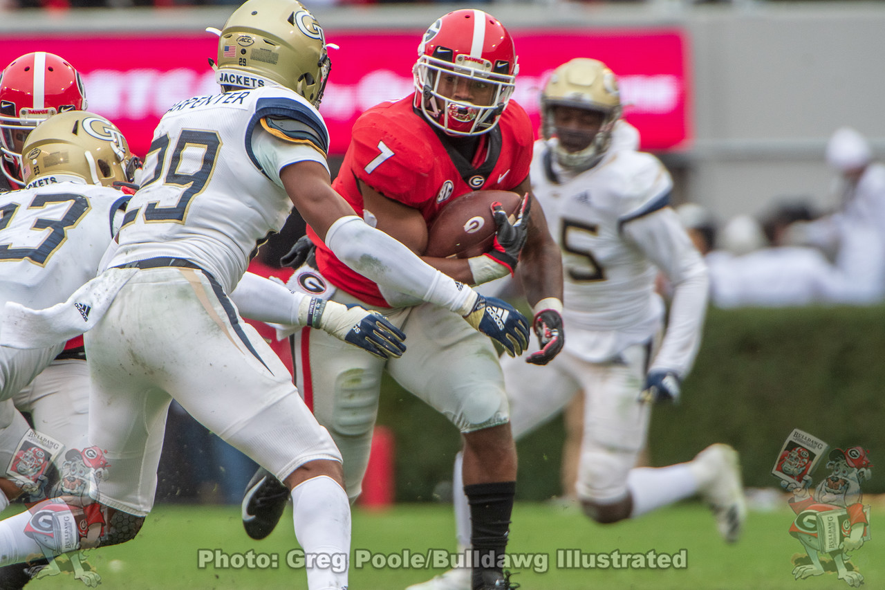 Georgia running back D'Andre Swift (7) rushed for 105 yards and a touchdown on 14 carries in last year's Georgia Tech game, November 24, 2018.