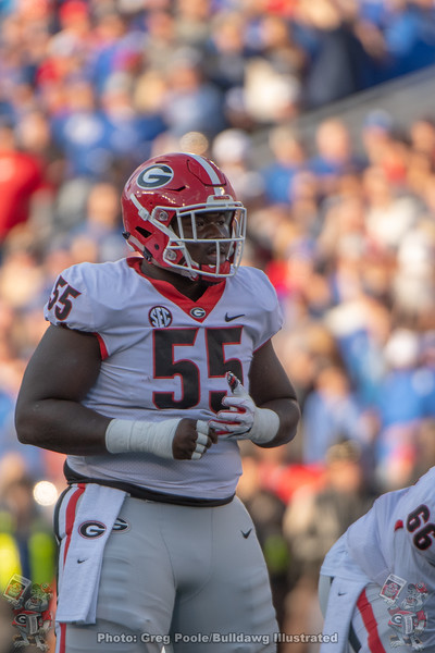 Trey Hill (55) during the 2018 Georgia vs. Kentucky game.