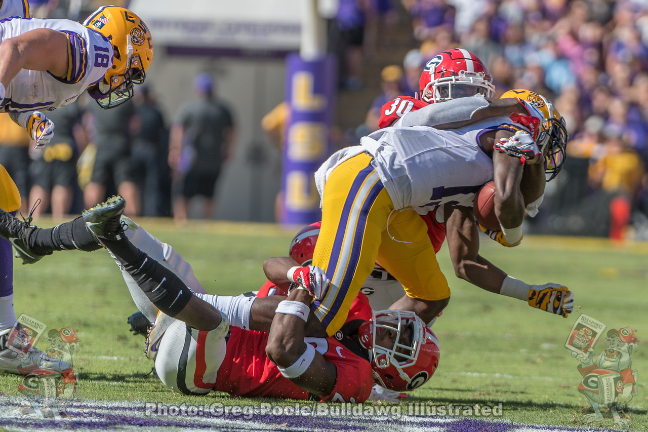 UGA safety J.R. Reed (20) and linebacker Tae Crowder (3) tackle the Tiger ball carrier