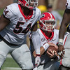 Justin Shaffer (54) and Jake Fromm (11)